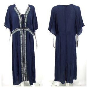 SUZANNE BETRO Dress Blue 2X Flutter Sleeve Boho